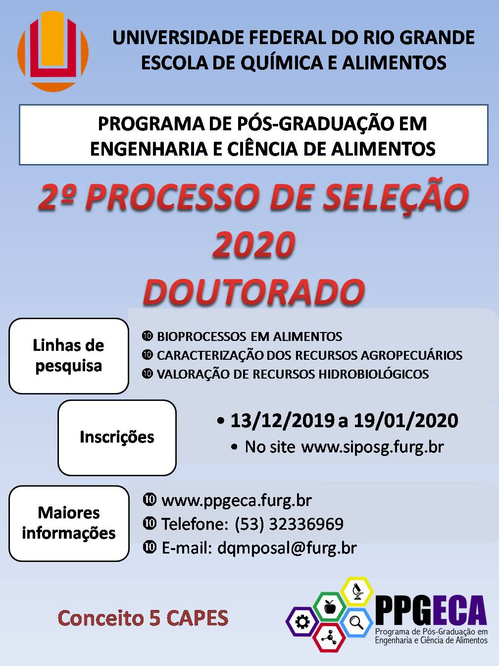 Segundo Processo Seletivo Doutorado 2020!!!!